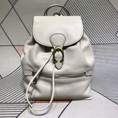 品牌折扣館 美國正品代購 COACH 68380 新款牛皮抽繩書包女包 後背包 雙肩包 白色 附購買證明
