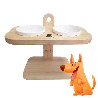 【寶貝愛寵】A2215 可調式原木碗架 兩口(陶瓷碗X2) 寵物碗架 貓狗碗架 原木碗架 毛孩 寵物餐桌 寵物托高碗架