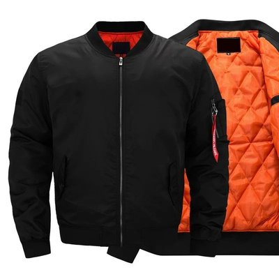 【新款歐美加大版型】MA1飛行外套 防風外套 夾克 立領外套 內裡橘色 黑藍綠(三色 )(M-2XL) 厚款鋪棉款