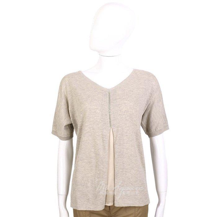 米蘭廣場 FABIANA FILIPPI 卡其灰色拼接設計珠飾短袖上衣 1420102-86