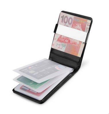 injoylife多功能男士錢包 短款真皮多卡位金屬錢夾 簡約鈔票夾