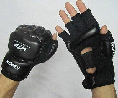 【新視界生活館】黑色 白色 高檔WTF跆拳道手套散打格鬥手套搏擊手套半指手套打沙袋拳套拳擊運動用品