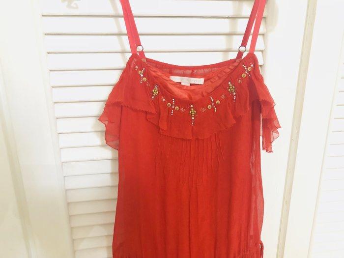 Rebecca Taylor 紅色細肩帶釘珠水鑽洋裝