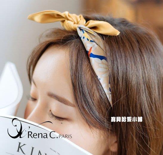 BHI1728-法國品牌RenaChris 韓國布藝樹與鳥紋多功能髮圈 髮帶 領巾 圍巾【韓國製】AngelRena