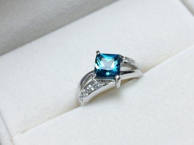 【Texture & Nobleness 低調與奢華】天然無處理 低調原創珠寶瑞士藍托帕石戒指 純銀鍍白K