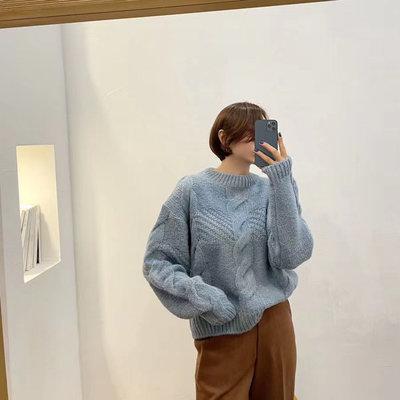 *Her Hanna* 韓國時尚設計品牌 冬日暖暖麻花編織毛衣經常請吃飯的漂亮姐姐孫藝真孫藝珍 2pm合體AN21011505