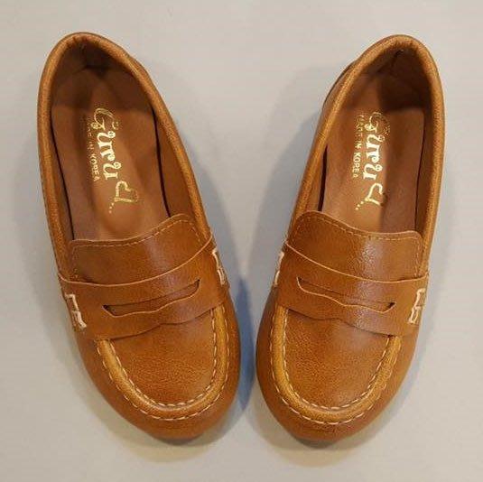 『※妳好,可愛※』 妳好可愛韓國童鞋 正韓  韓國時尚簡約船型鞋 豆豆鞋 韓國童鞋  皮鞋 男童鞋