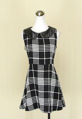 ◄貞新►FIFITY PERCENT 50% 韓國 黑色格紋圓領無袖棉質洋裝M號(72498)
