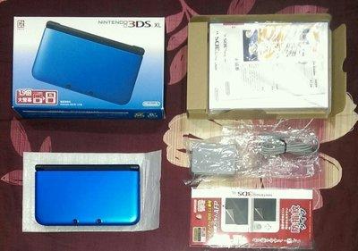 3DS XL 主機+變壓器+全新保護貼+全新主機包 (台灣機)藍色