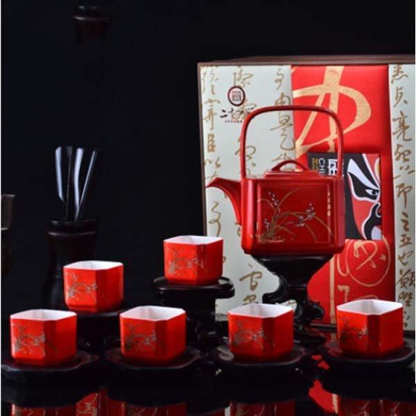 5Cgo【茗道】含稅會員有優惠 38854077932 景德鎮陶瓷整套功夫茶具結婚禮品紅瓷茶具堂堂正正婚慶茶具送禮