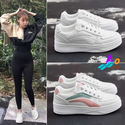 Lo流行女鞋~ *.:.*日常焦點☆ 百搭素面拼色皮料休閒鞋