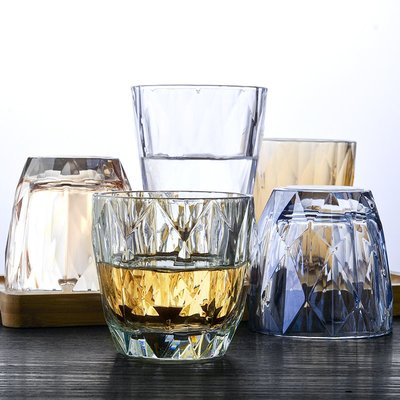 威士忌杯 玻璃杯 高腳杯加厚水杯玻璃耐高溫杯子家用客廳女喝水杯ins簡約個性網紅牛奶杯