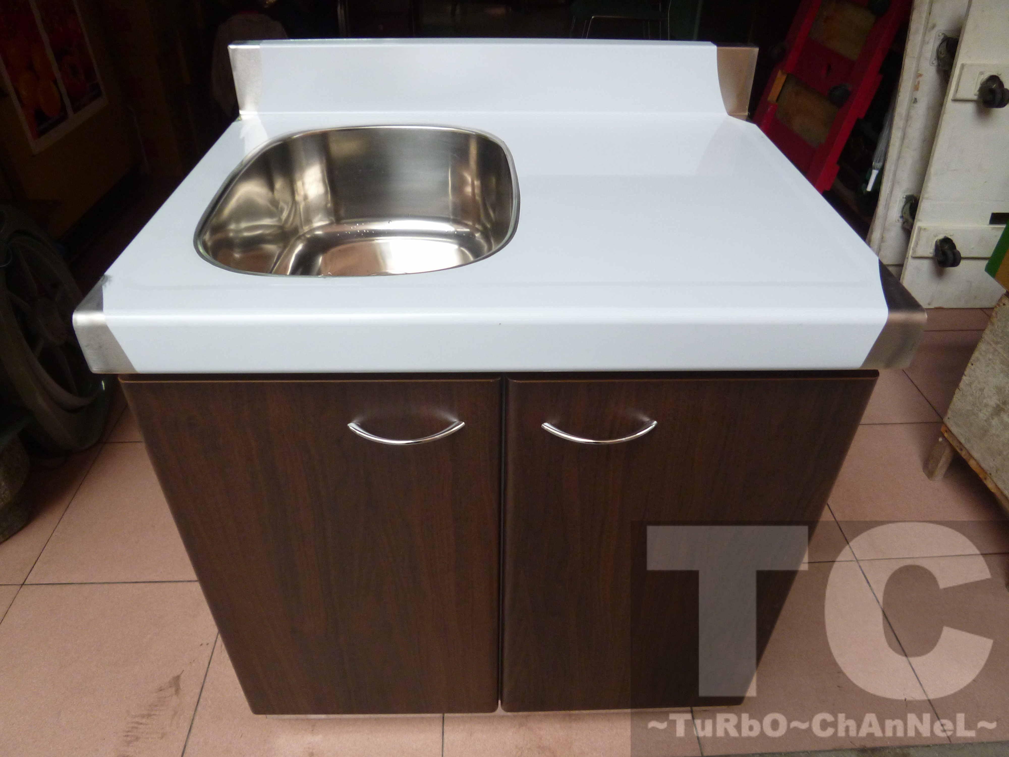 流理台【72公分洗台-左小水槽】台面&櫃體不鏽鋼 深木紋色門板 最新款流理臺