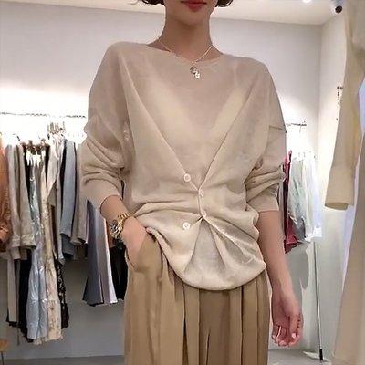 IM推薦   韓國單東大門  秀氣別緻釦子設計感半透針織寬衫/亞麻色小眾寬鬆針織