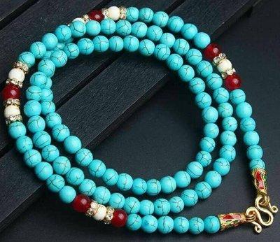 「還願佛牌」泰國 佛牌鏈 串珠款 項鍊 單掛 經典 佛牌鏈子 綠松石 白松石 紅瑪瑙