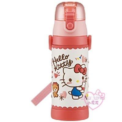 ♥小花花日本精品♥HelloKitty3D立體造型直飲式彈壓式杯蓋保溫瓶保冷瓶480ml01027600