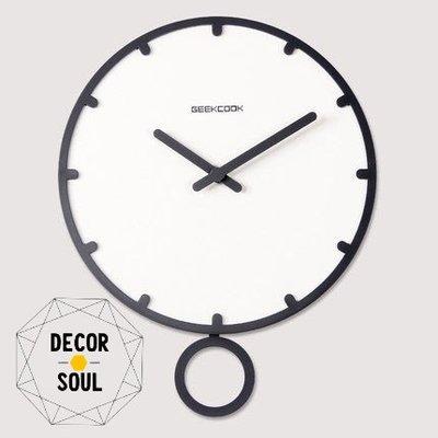 DS北歐家飾§ 原創GEEKCOOK 黑白歐式鐘擺壁掛鐘 30CM時鐘 工業風創意造型設計時尚家居鐘錶靜音機芯現代簡約風