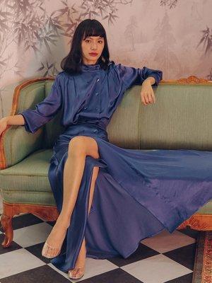 SINCE THEN纯色半高领复古气质长袖大开衩套装女秋两件套2018新款