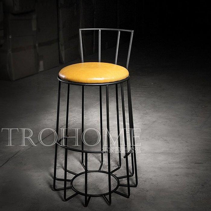 【拓家工業風家具】皮革椅墊多線條吧台椅/美式復古懷舊吧檯椅高腳椅寫字椅餐椅/LOFT咖啡店早餐店餐廳酒吧民宿