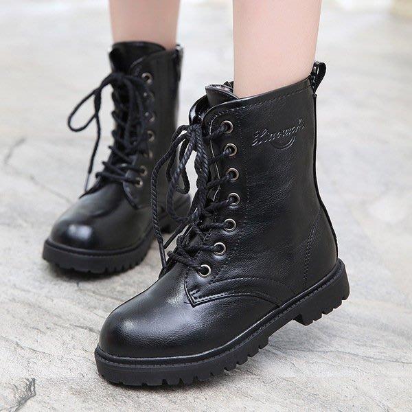 [C.M.平價精品館]36碼男女童適穿 超帥氣有型高筒綁帶皮靴 黑色/紅色/酒紅色