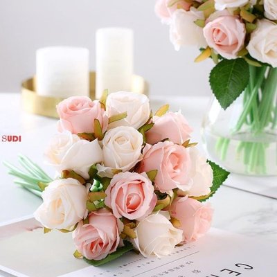 假花 花藝 12頭 仿真玫瑰花 假花 花藝裝飾 花束「稻菏館」