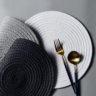 餐具 瓷碗 餐勺 碗碟 套裝純色餐桌墊日式餐墊家用耐磨隔熱ins餐墊宜家用餐墊圓形