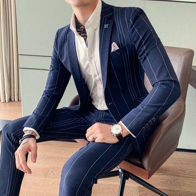 【時尚先生男裝】豎條紋西裝男套裝韓版修身潮流男士藍色帥氣西裝休閑西服兩件套潮韓版西裝 修身西裝 整套西裝 西裝褲 西裝外套正式西裝A0013