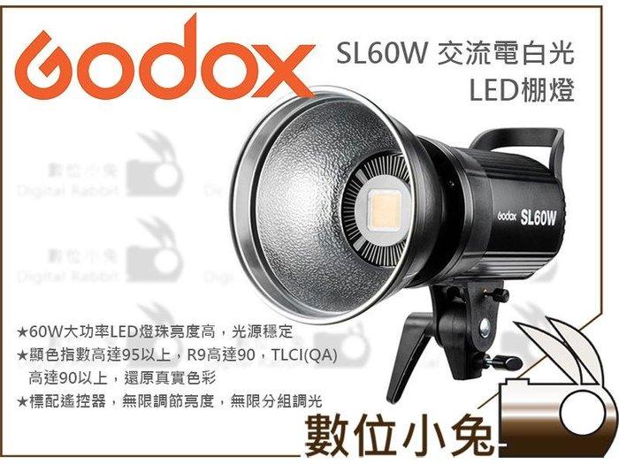 數位小兔【Godox 神牛 SL60W 交流電白光 LED 棚燈+220cm燈架】攝影燈 補光燈 LED燈續燈 公司貨