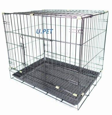 【優比寵物】2尺活動折疊式/褶疊式(黑色底盤)(密底腳踏網)靜電粉體烤漆兔籠/貓籠/狗籠-台灣製造-