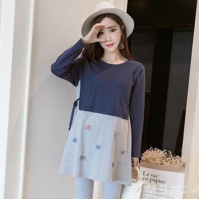 孕婦秋裝套裝時尚款新款韓版孕婦洋裝長袖t恤上衣孕婦裙子 zm12127