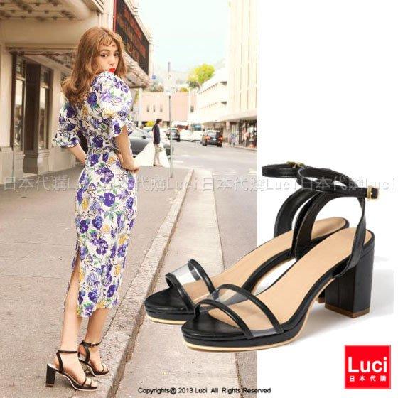 高跟鞋 透明一字帶高跟涼鞋 復古 性感可愛 透明簍空感涼鞋 日雜款  LUCI日本代購 [zr511aqd]