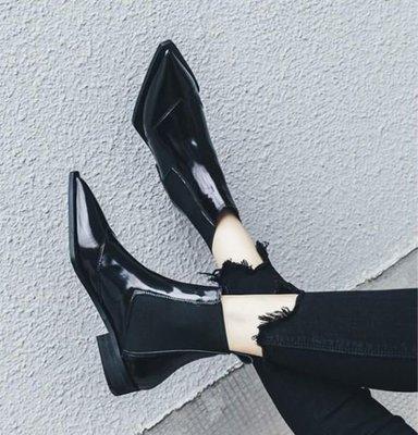 【黑店】歐式時尚尖頭切爾西靴 真皮尖頭靴 時尚尖頭短靴 低跟短靴切爾西靴 時尚潮流尖頭短靴 時尚真皮尖頭靴 SH129