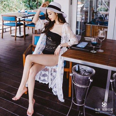 SB SHOP【花邊蕾絲長版罩衫外套 ts86 】女裝 罩衫 夏日 上衣 海灘裙 防曬 外套 顯瘦 透膚 美背