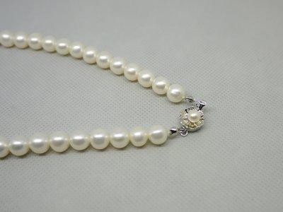 天然淡水白珍珠 圓珠項鍊 8.5~9m...