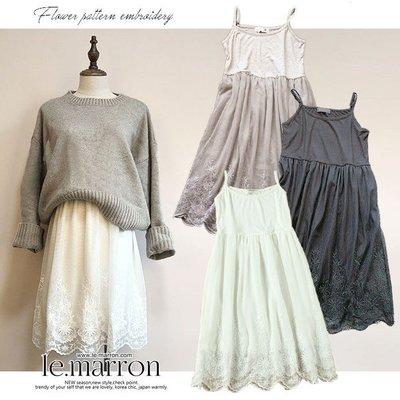 Le.Marron╭*゚日系刺繡蕾絲裙...