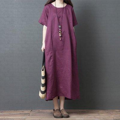 短袖洋裝 ◎ 女人心語◎中大尺碼 寬鬆棉麻純色斜紋短袖連身裙(預)  CK-BC-SK