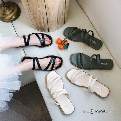 EmmaShop艾購物-韓國連線夏天簡約素色平底涼拖/拖鞋/涼鞋