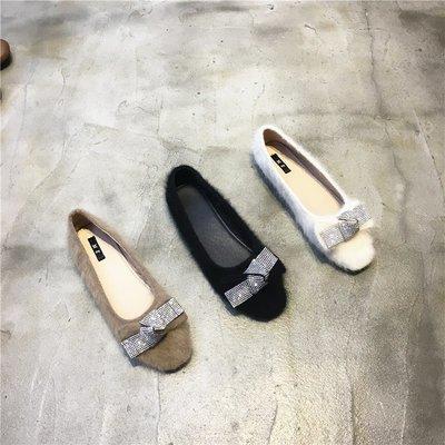 Sarah  實拍新款圓頭水貂毛單鞋一腳蹬百搭休閑女穆勒鞋淺口瓢鞋女秋
