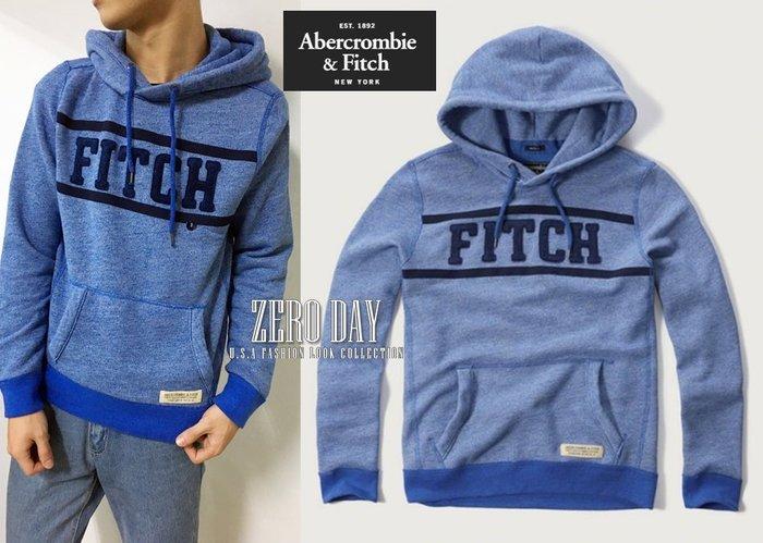 零時差A&F Abercrombie&Fitch Applique Logo Contrast Hoodie徽章連帽T藍