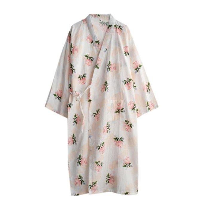 木棉花睡袍女士純棉紗布薄款春秋季日式睡衣家居服汗蒸服浴袍浴衣