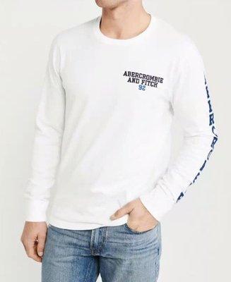 Abercrombie & Fitch A&F 麋鹿  袖子貼布 長T 車繡 LOGO 白色