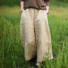 【如茶】簡約寬鬆透氣鬆緊腰闊腿褲八分褲打坐褲-回饋特價