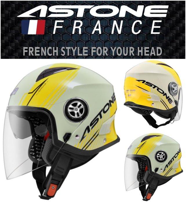 Astone MJS 彩繪(黃色)可拆洗 內建墨鏡 重量輕巧 半罩 AS9 安全帽