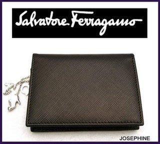 喬瑟芬【Salvatore Ferragamo】09 秋冬皮革墜飾名片/信用卡夾~全新真品!超值出清!