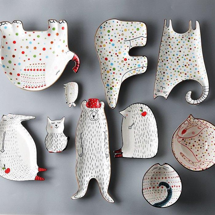 動物童話系餐盤 北歐餐盤 陶瓷餐盤 陶瓷盤 可愛風格餐盤
