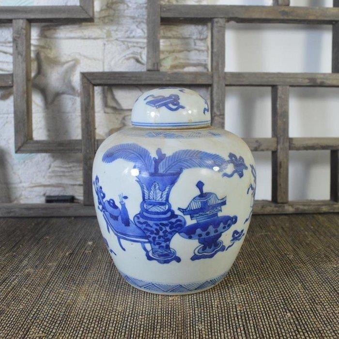 百寶軒 仿古瓷器復古做舊清康熙風格手繪青花博古紋蓋罐古董古玩擺件 ZK1786