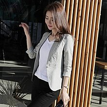 棉麻小西裝女外套短款韓版女士七分袖休閒西服--誘貨