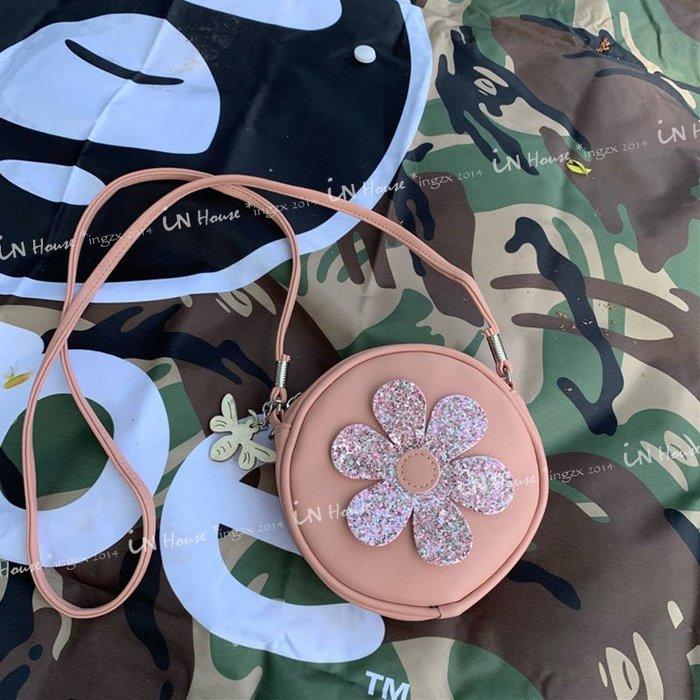 IN House*🇹🇼現貨 bag 歐美 小公主 粉色 亮片 花朵 圓形 親子 單肩包 側背包 斜跨包