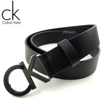 ◎CK專櫃正品◎美國Calvin Klein 雙色大LOGO鐵牌真皮男用百搭皮帶腰帶 ◎附原廠盒+提袋