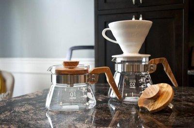 【多塔咖啡】HARIO V60 新款橄欖木咖啡壺 400ml VCWN-40 耐熱玻璃下座 手沖咖啡下壺 kono適用